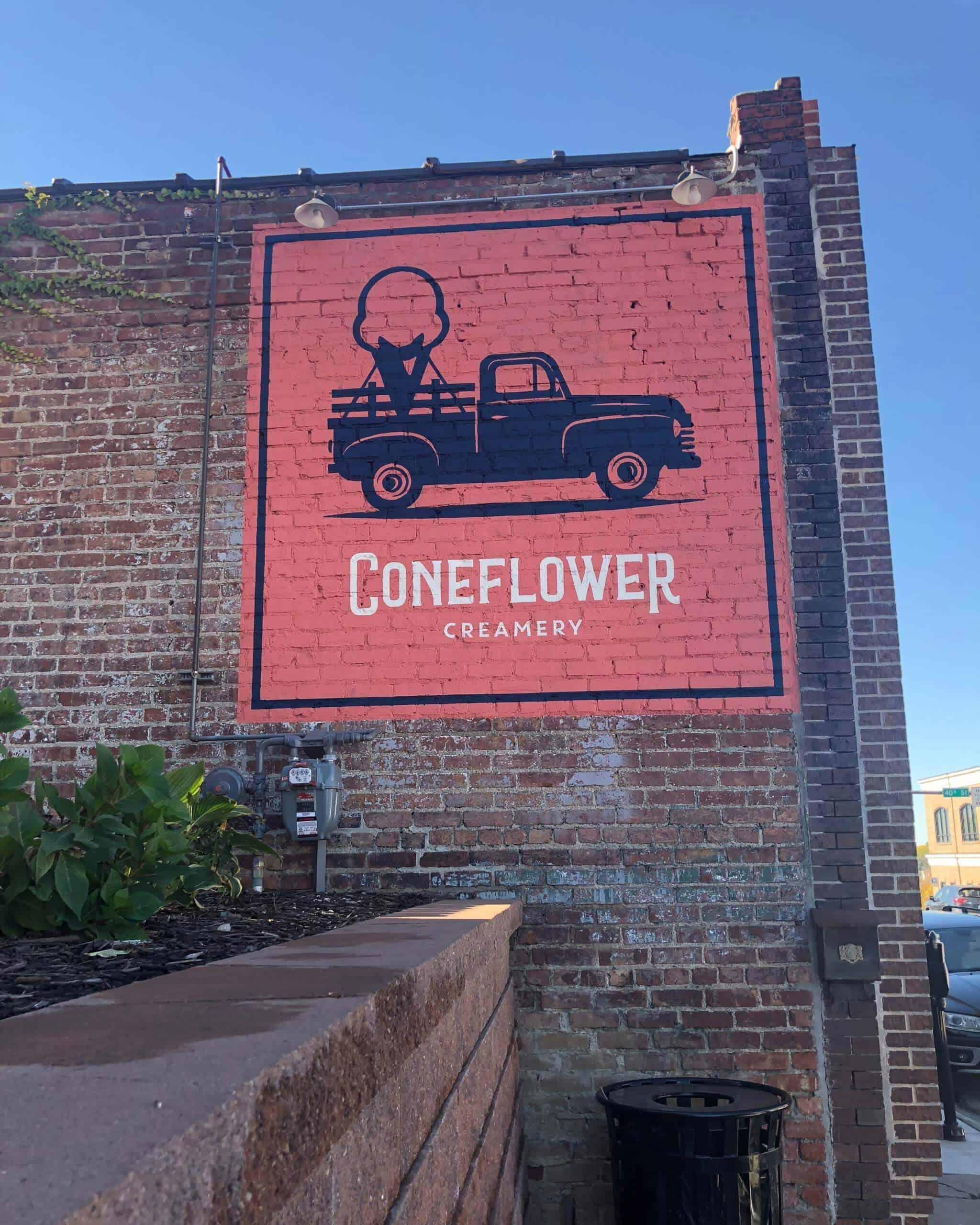 Sign of Coneflower Creamery in Omaha