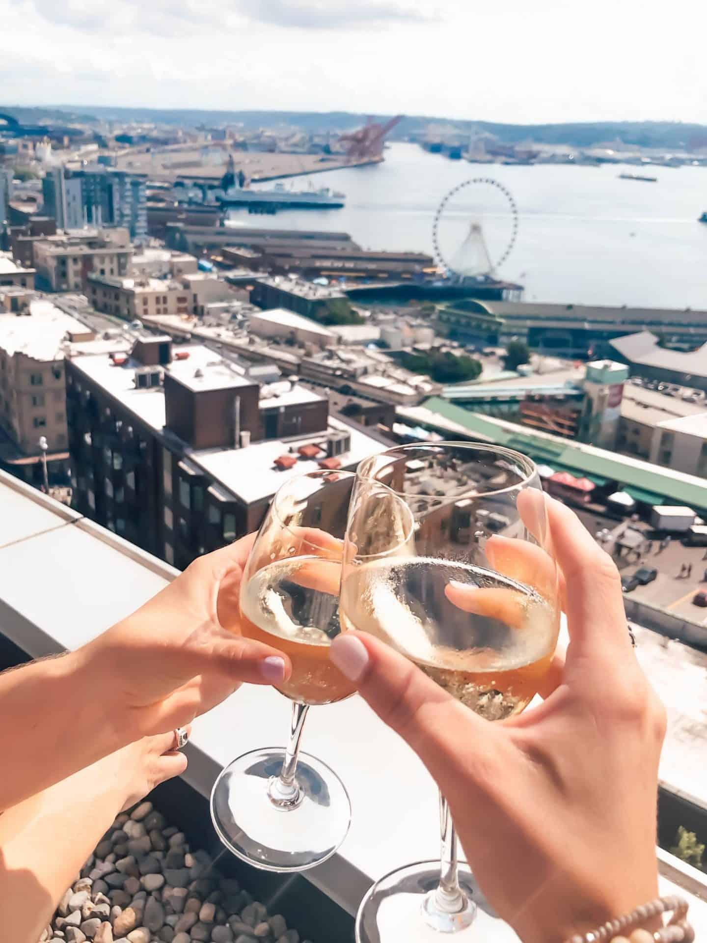 wine overlooking seattle