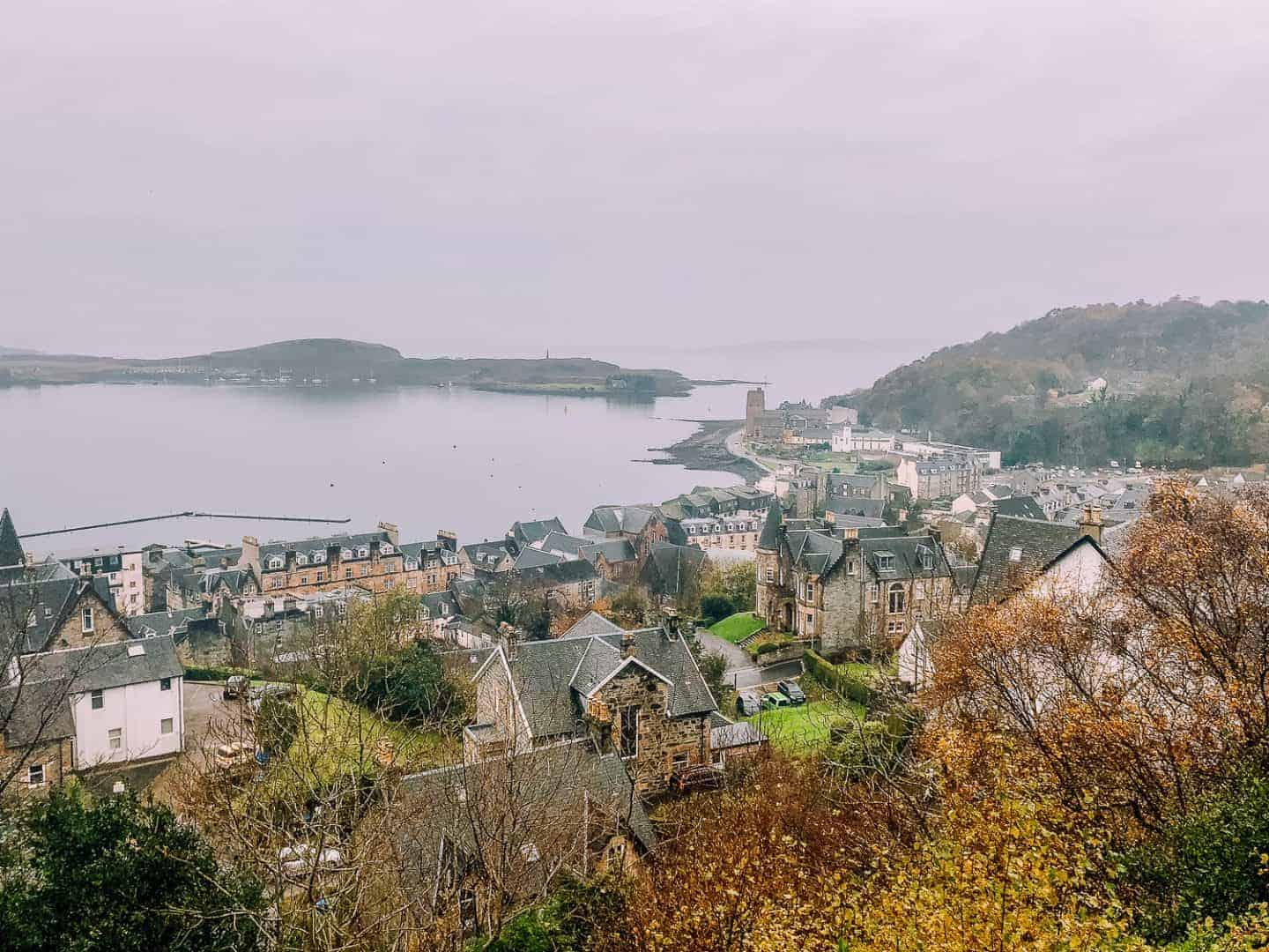 the town of oban from above