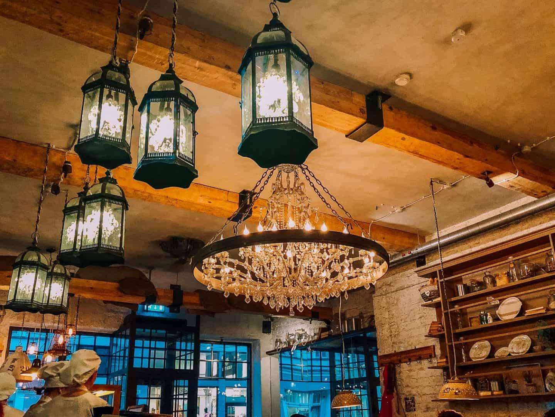 chandelier inside a restaurant