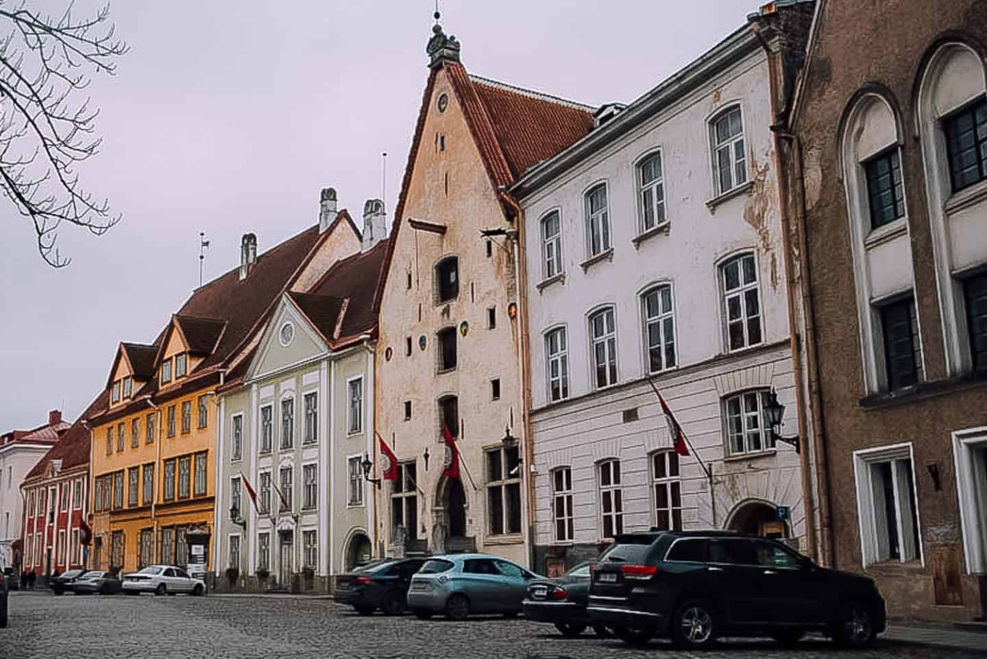 colorful buildings in old town tallinn