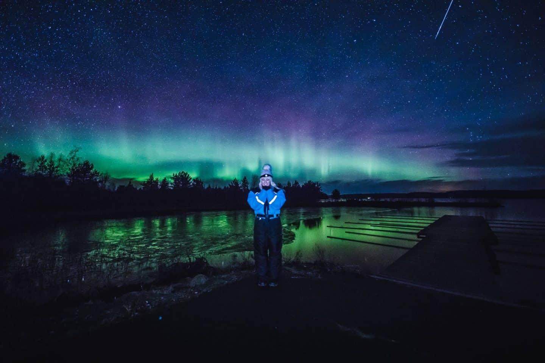 shooting star amongst the northern lights