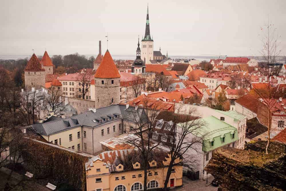 medieval town of tallinn with orange rooftops