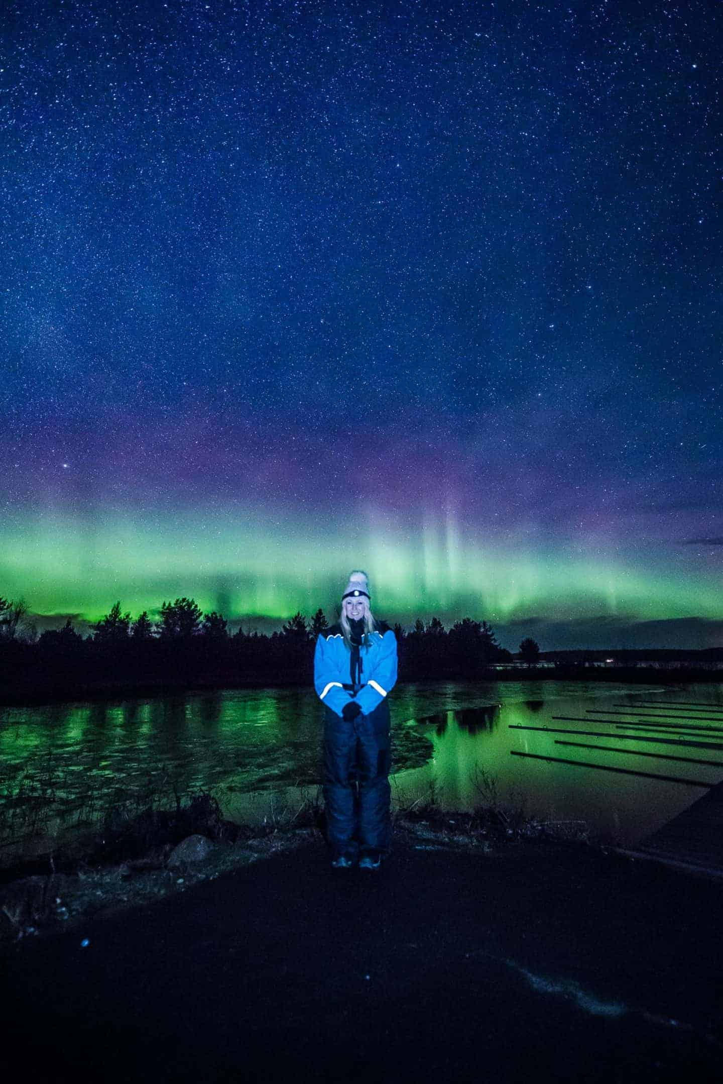 beautiful green and purple northern lights