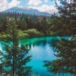 pristine blue lake in jasper