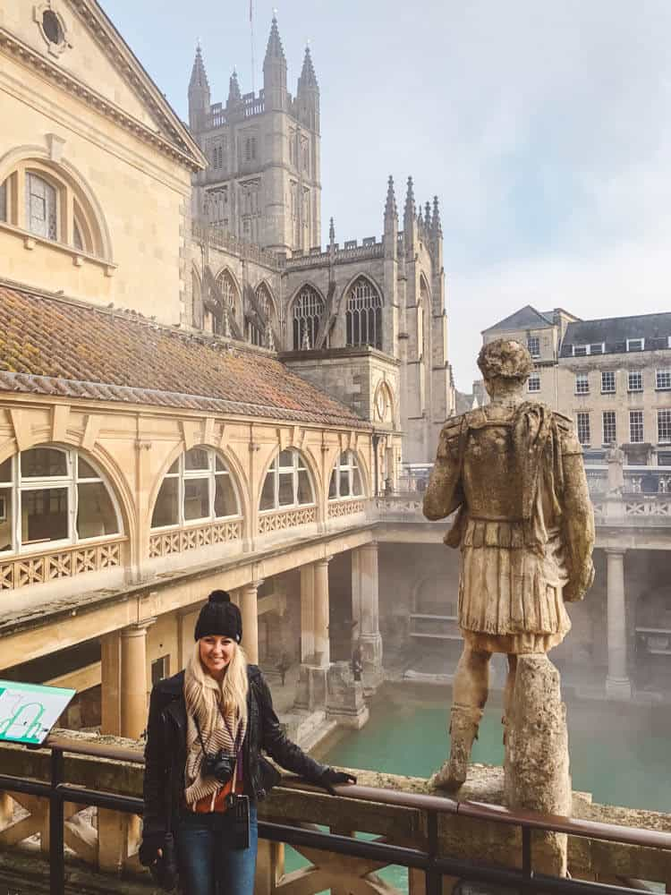 Bath, England - Roman baths with church in the backdrop