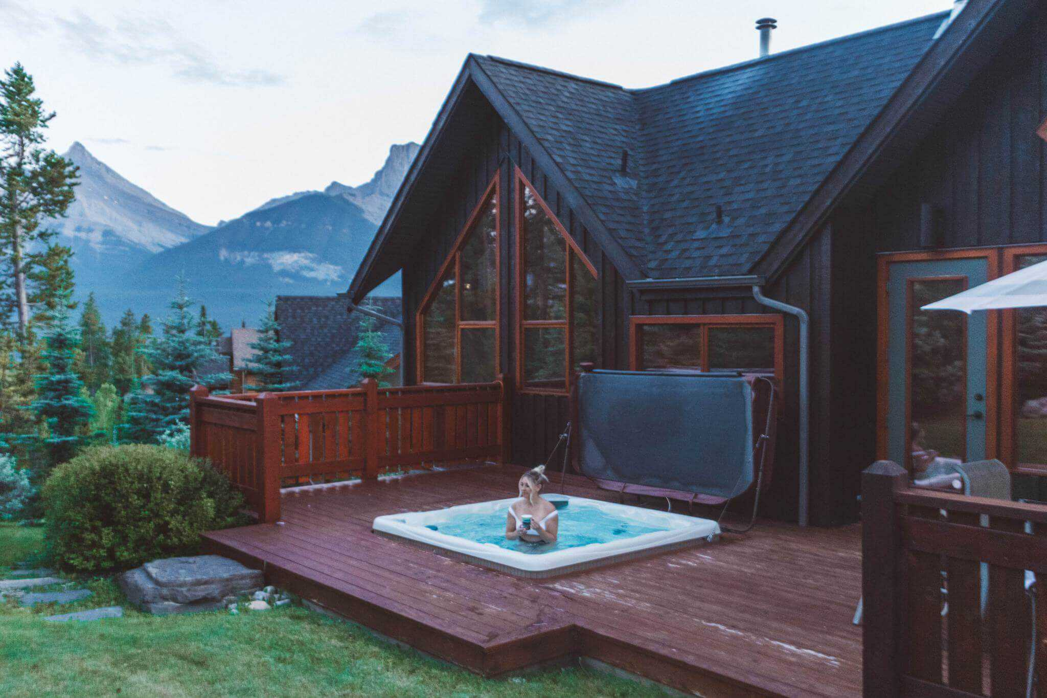 cabin with a hot tub in canmore