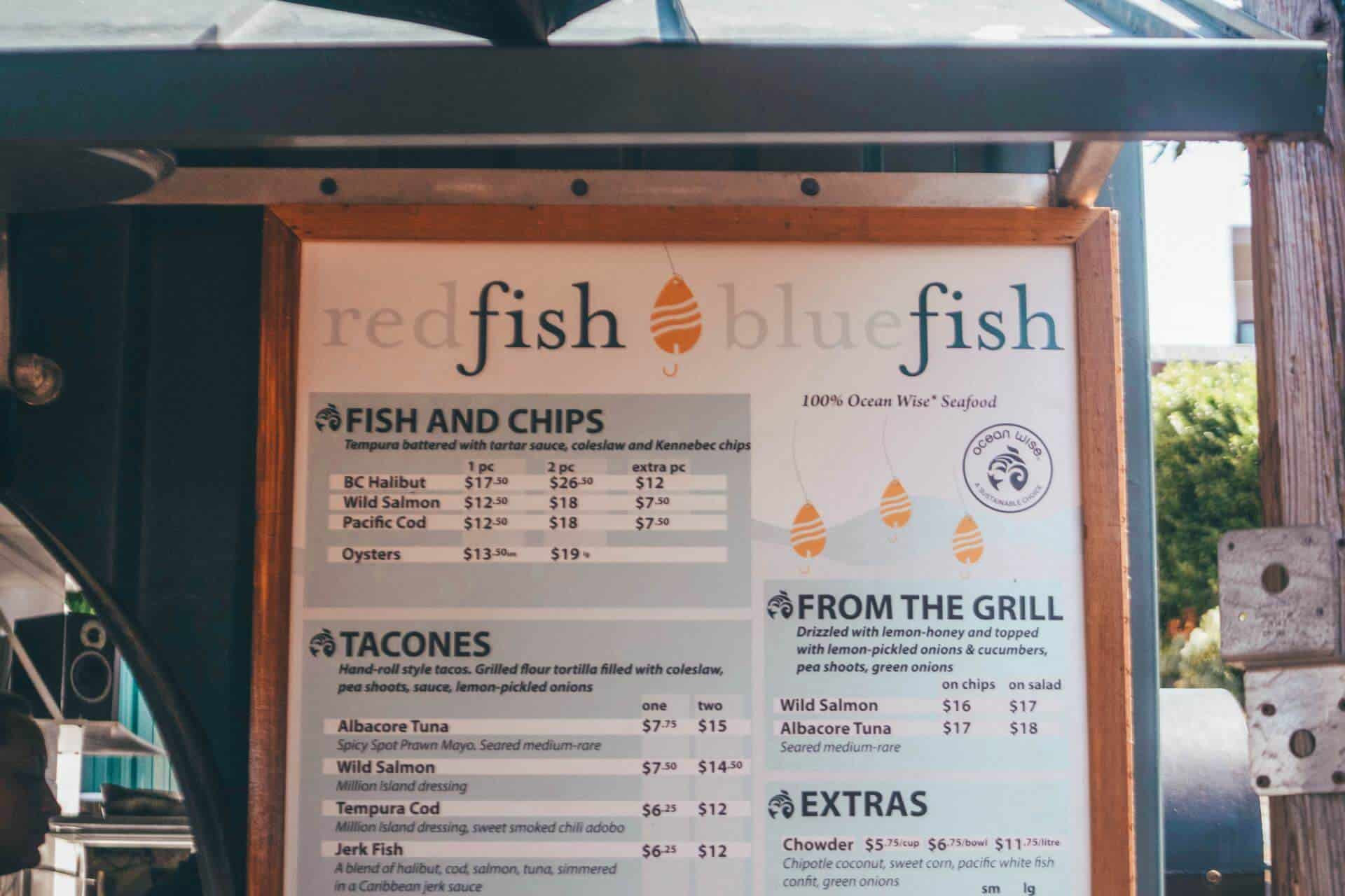 red fish blue fish menu
