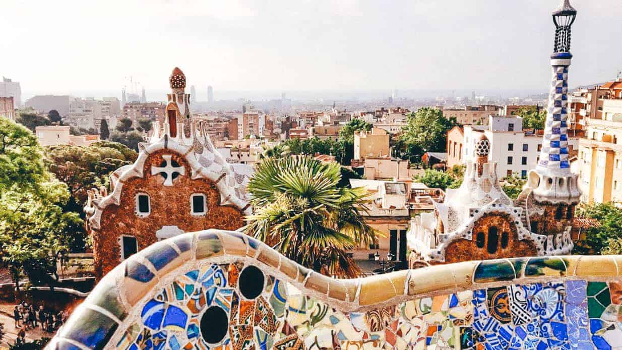 colorful view of barcelona from parc guell