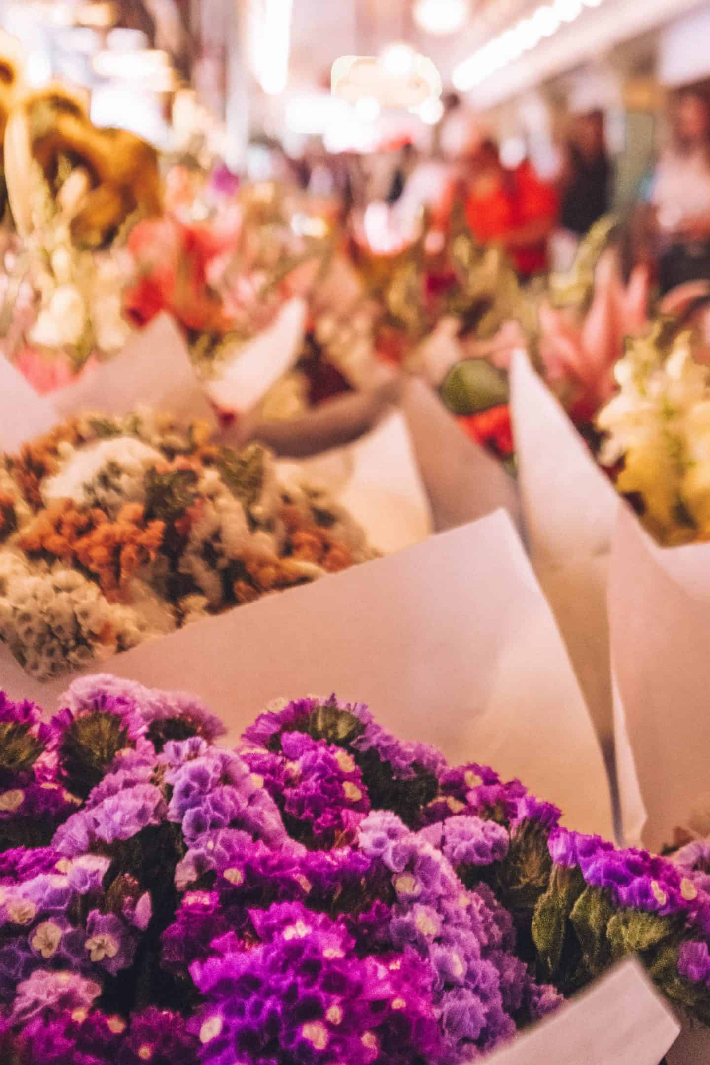 beautiful, brightly colored flowers at the farmers market