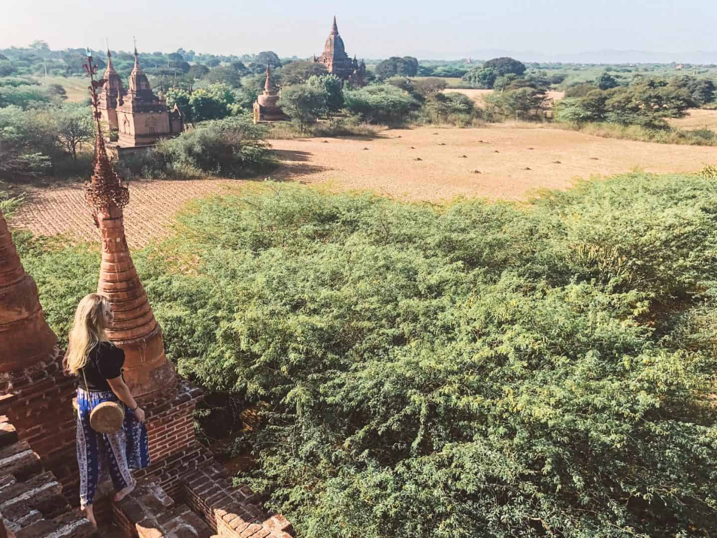 on top of an ancient pagoda looking out over bagan, myanmar