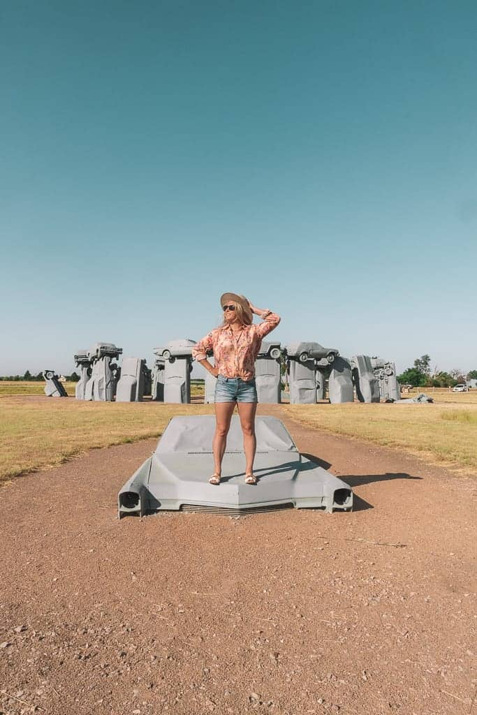 a monument of cars known as carhenge