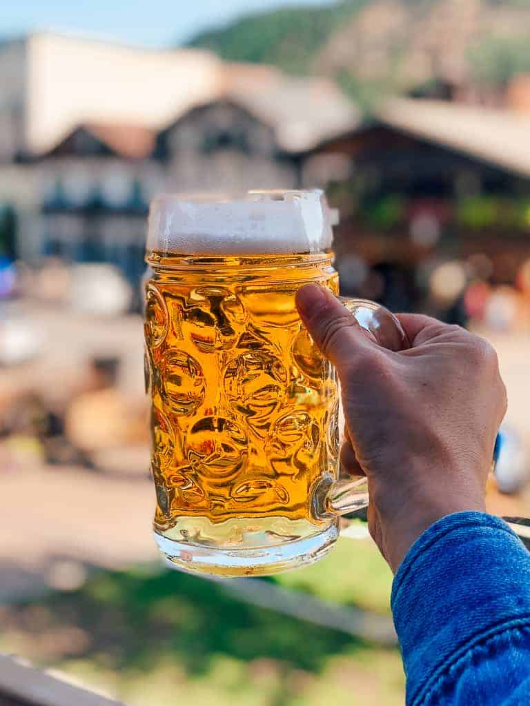 stein beer mug with shot of leavenworth in the background