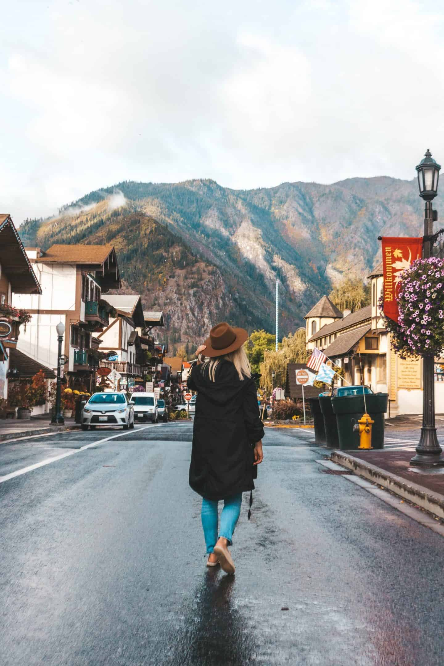 Front Street in Leavenworth with the Cascade Mountains in the background