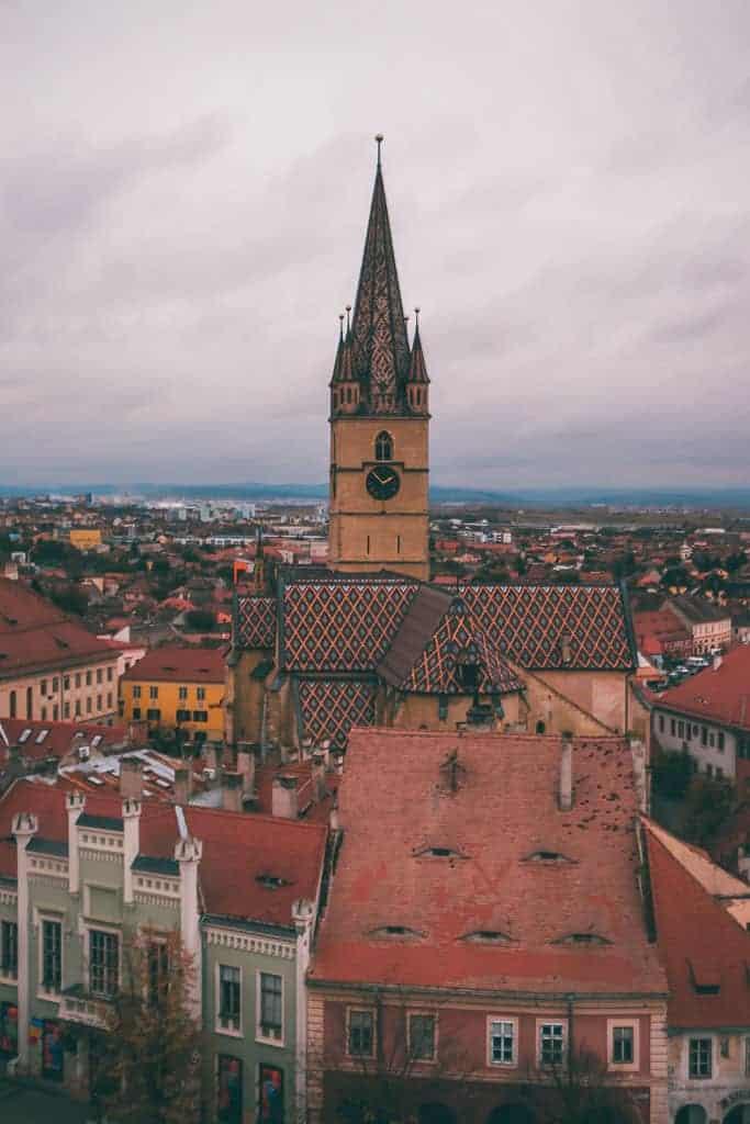 orange church in sibiu