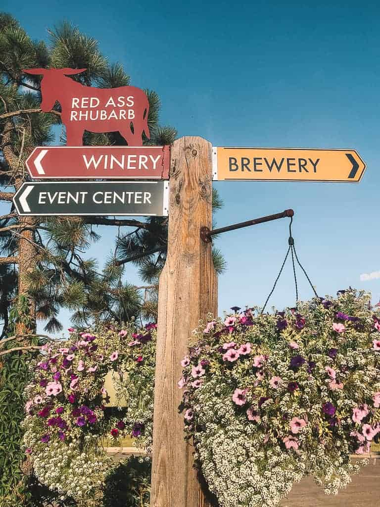 sign pointing one way to a brewery and one way to a winery