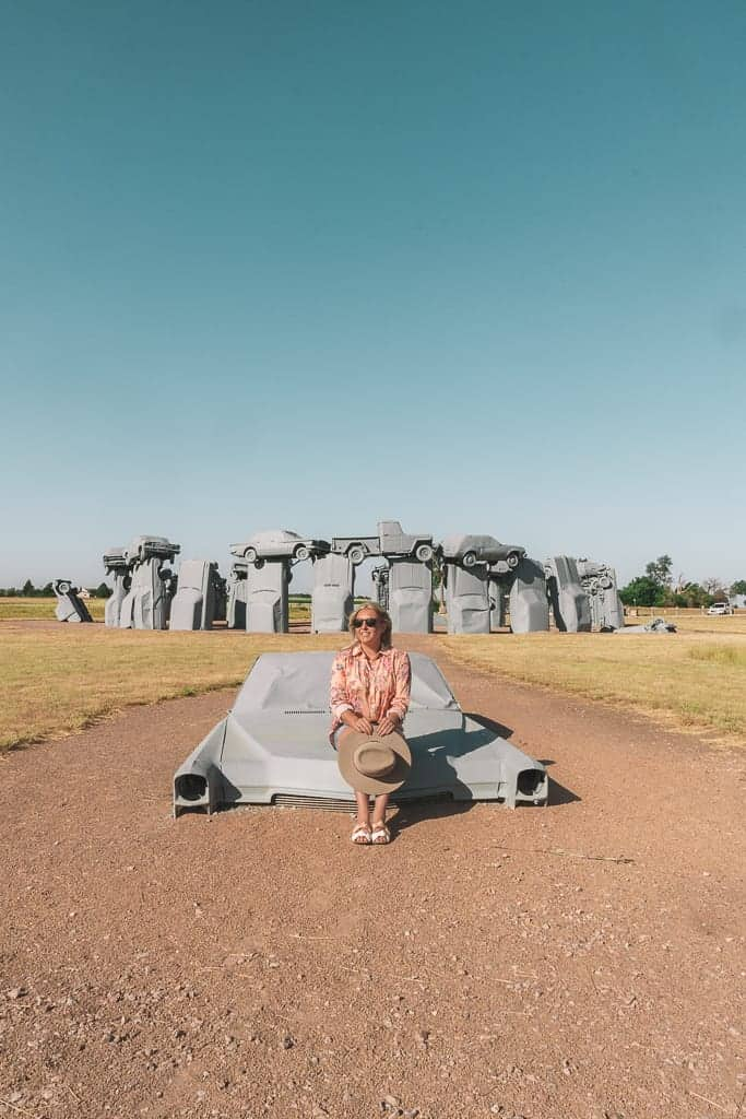 Carhenge - a memorial of vintage automobiles resembling stonehenge in england