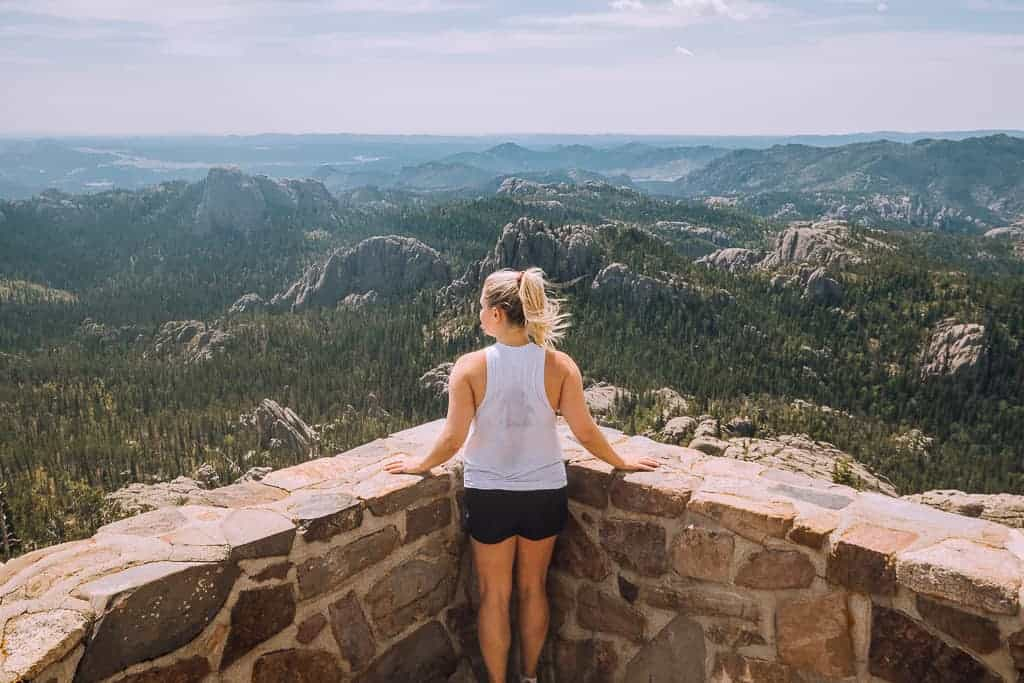 the top of harney peak looking out over south dakota
