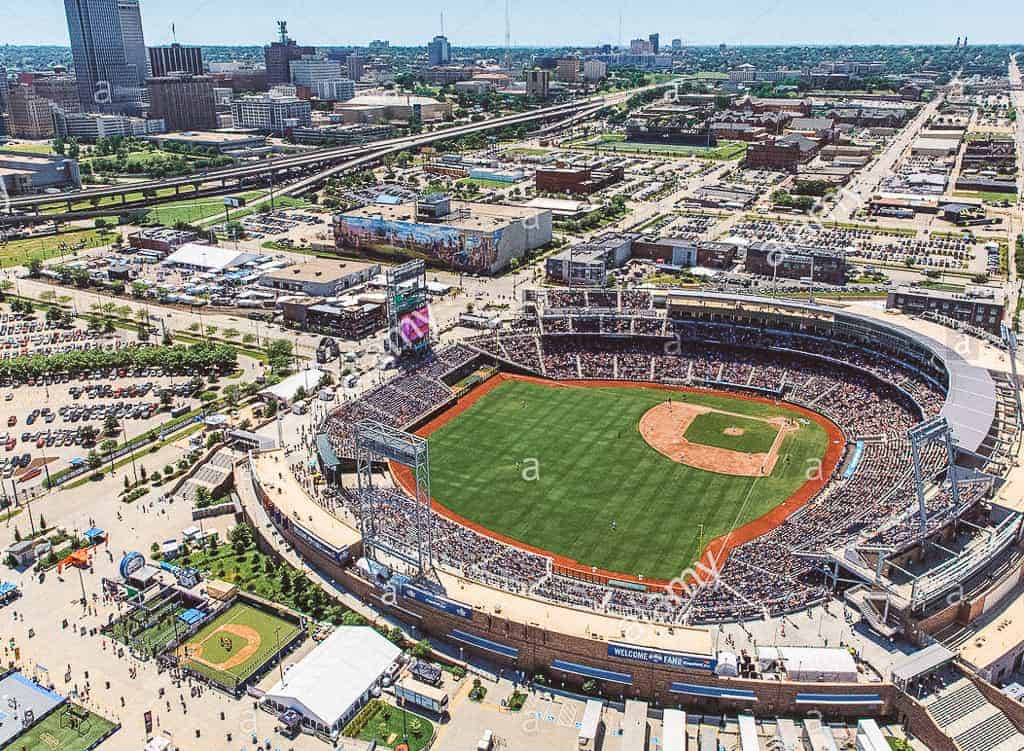 birds eye view of a baseball stadium