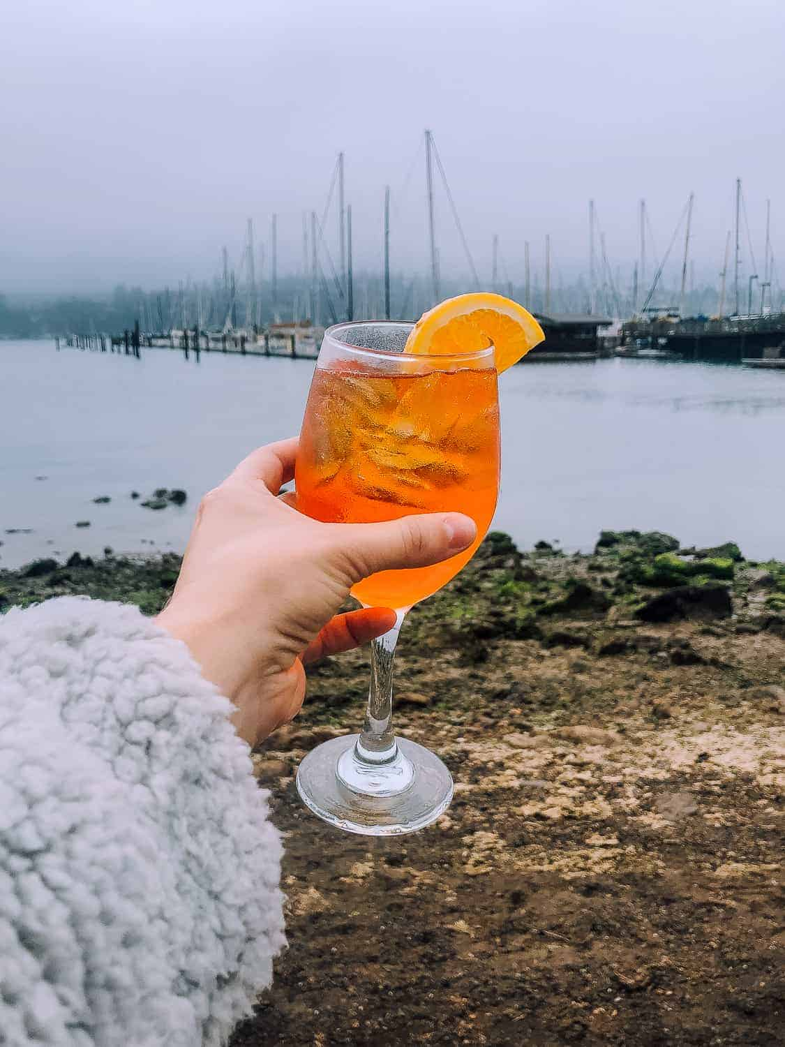 aperol spritz on the water