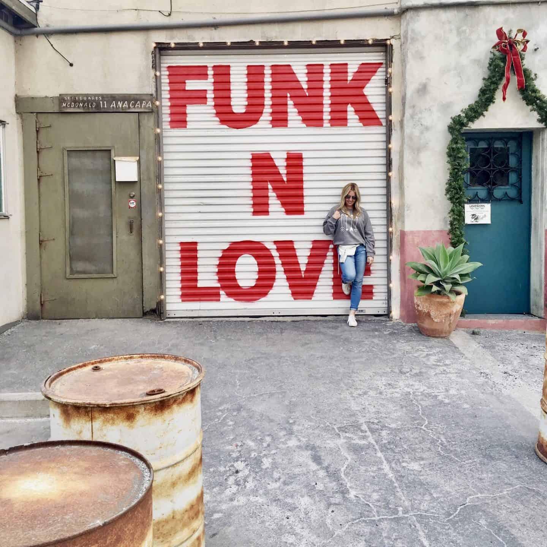 funk n love painted on a garage door