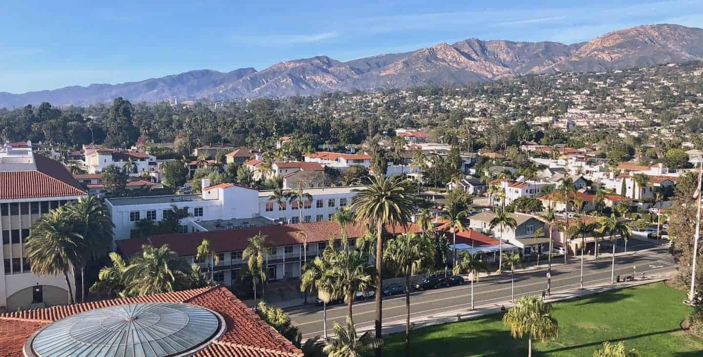 aerial views of santa barbara with the mountains in the background