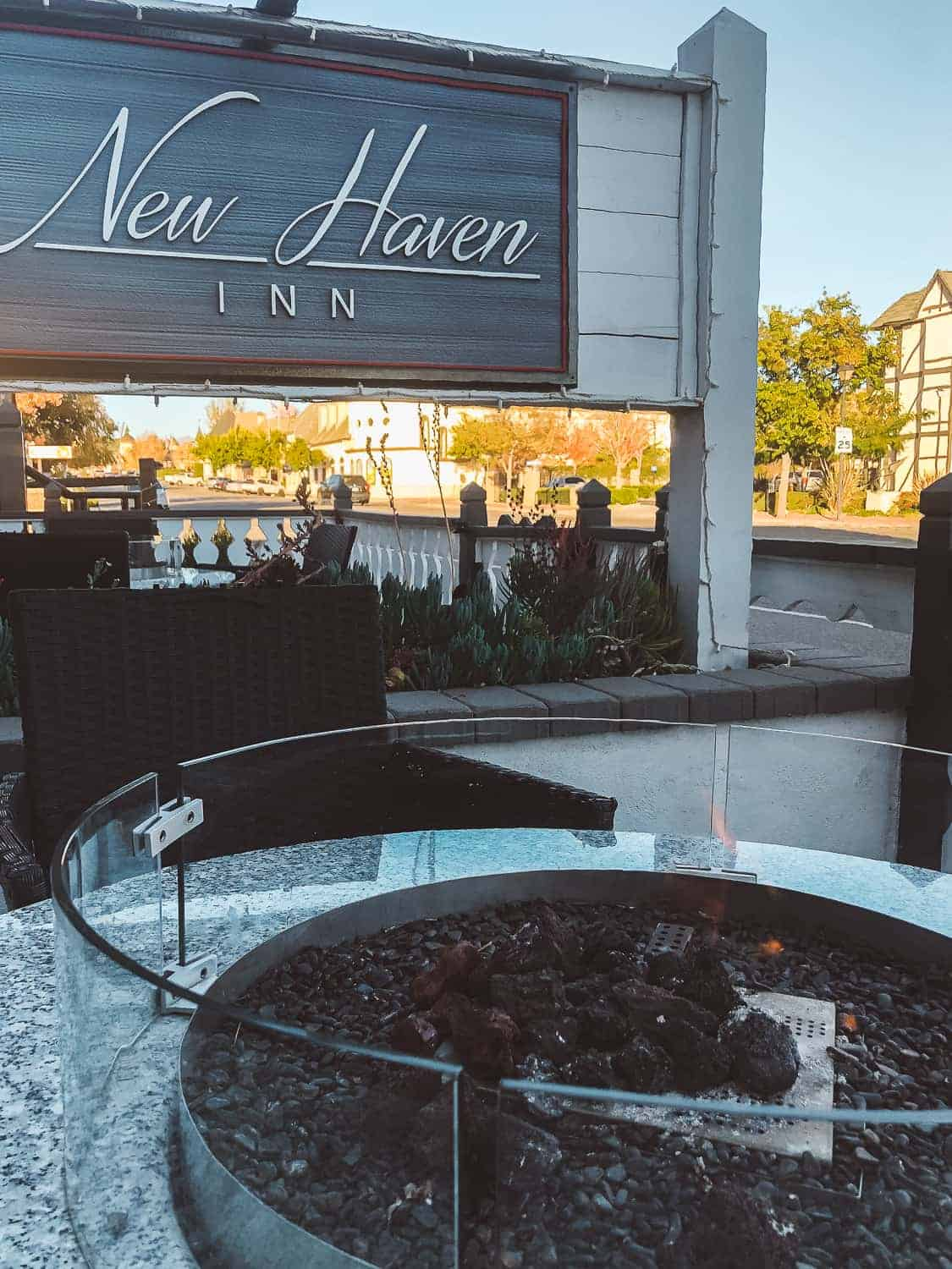 New Haven Inn hotel with fire pit