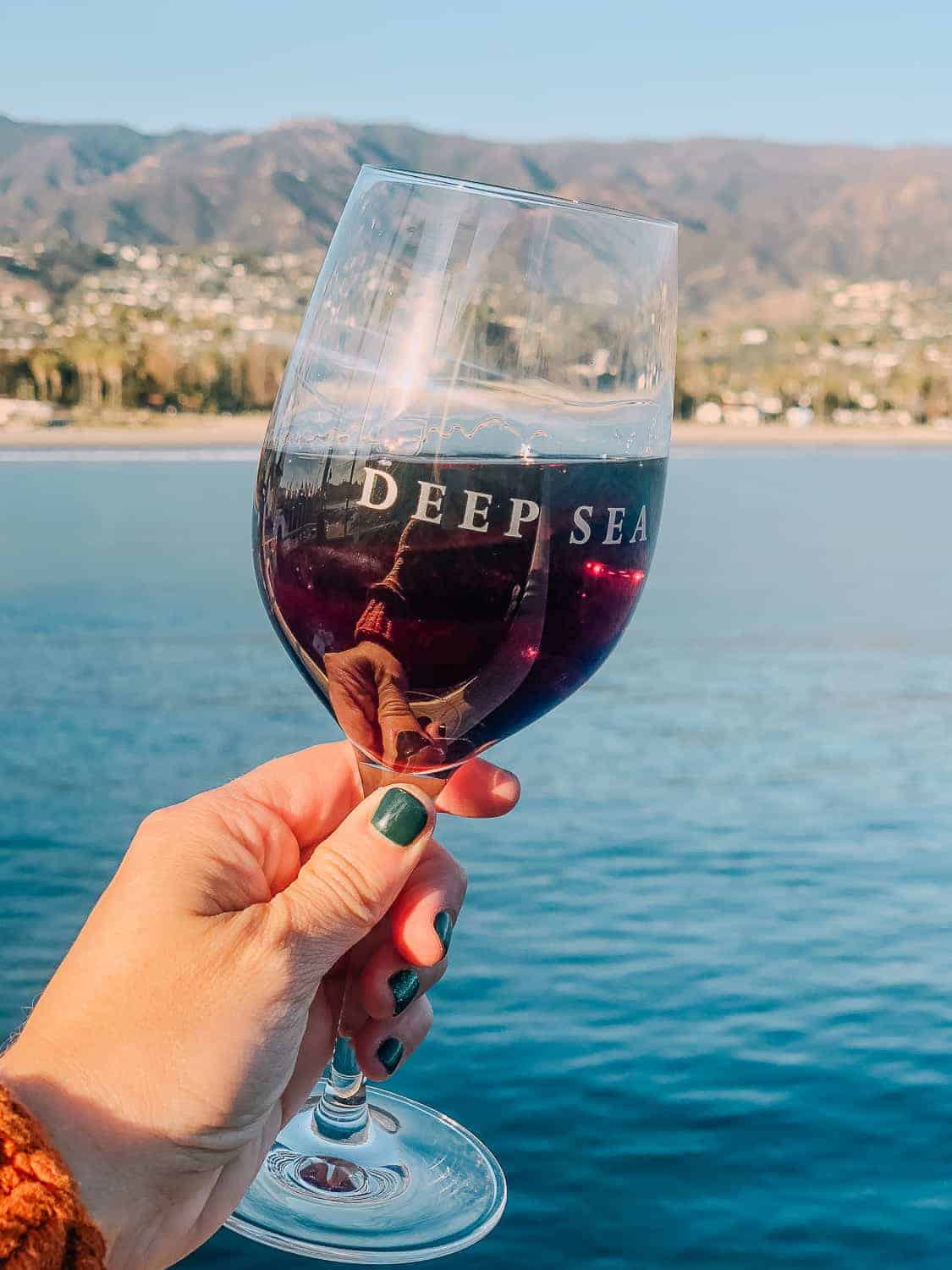 red wine glass in front of blue ocean