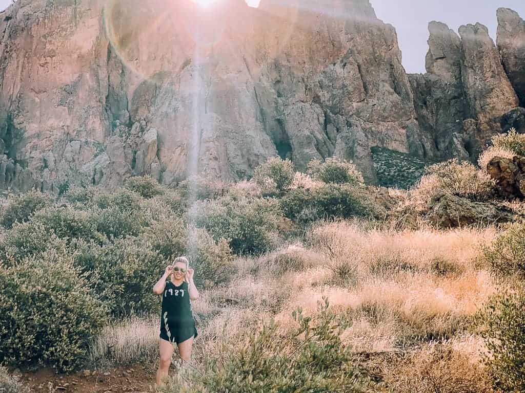 girl in black hiking