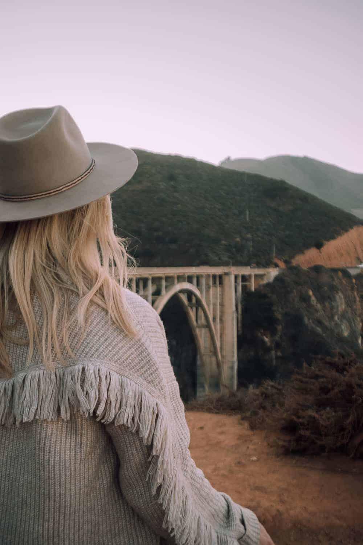 girl in front of Bixby Bridge