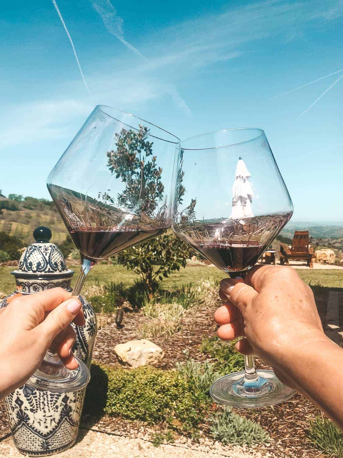 two glasses red wine with vineyards in background