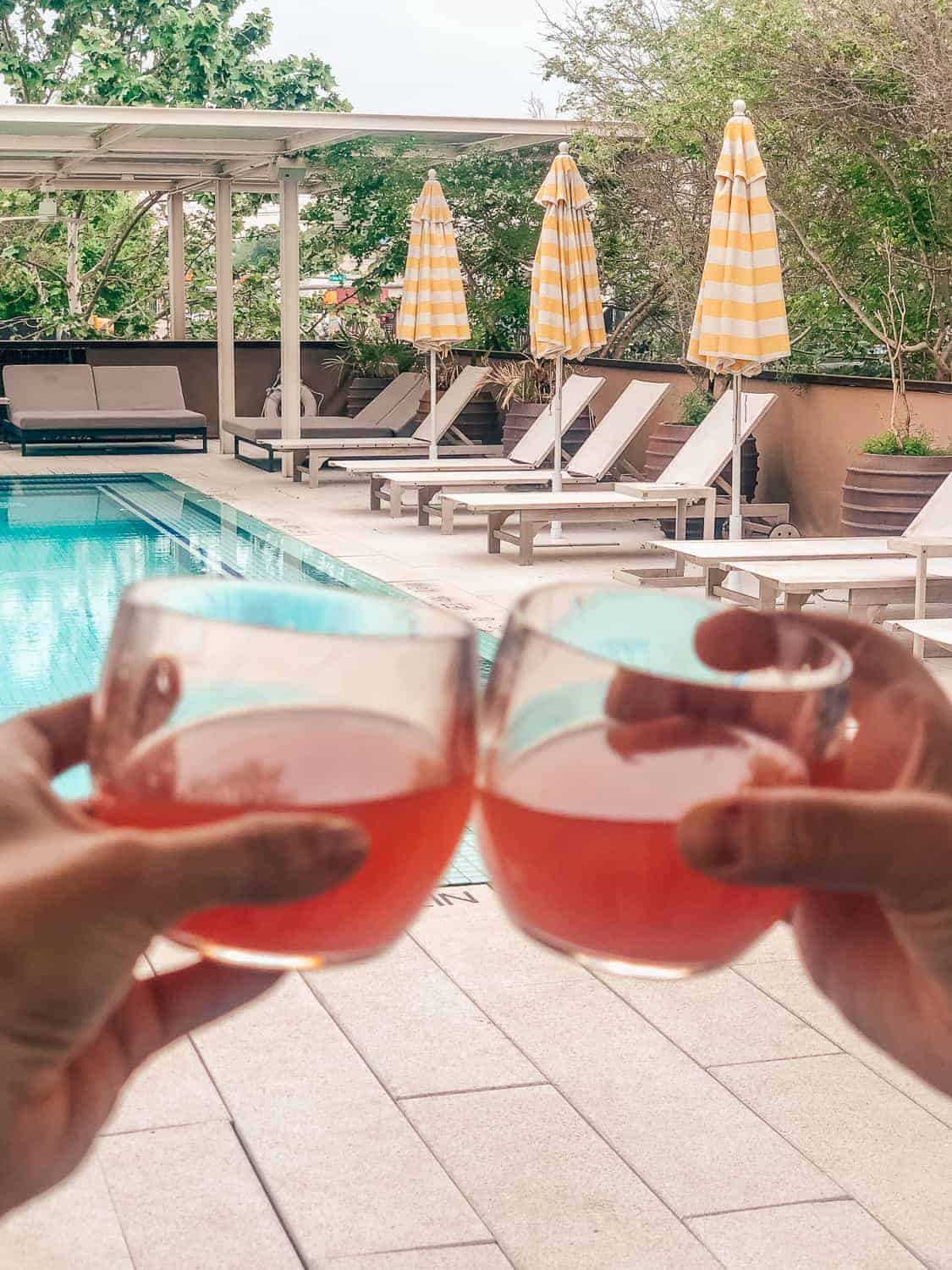 pink drinks at the pool