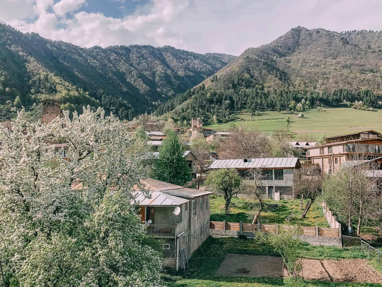 views of the small village mestia
