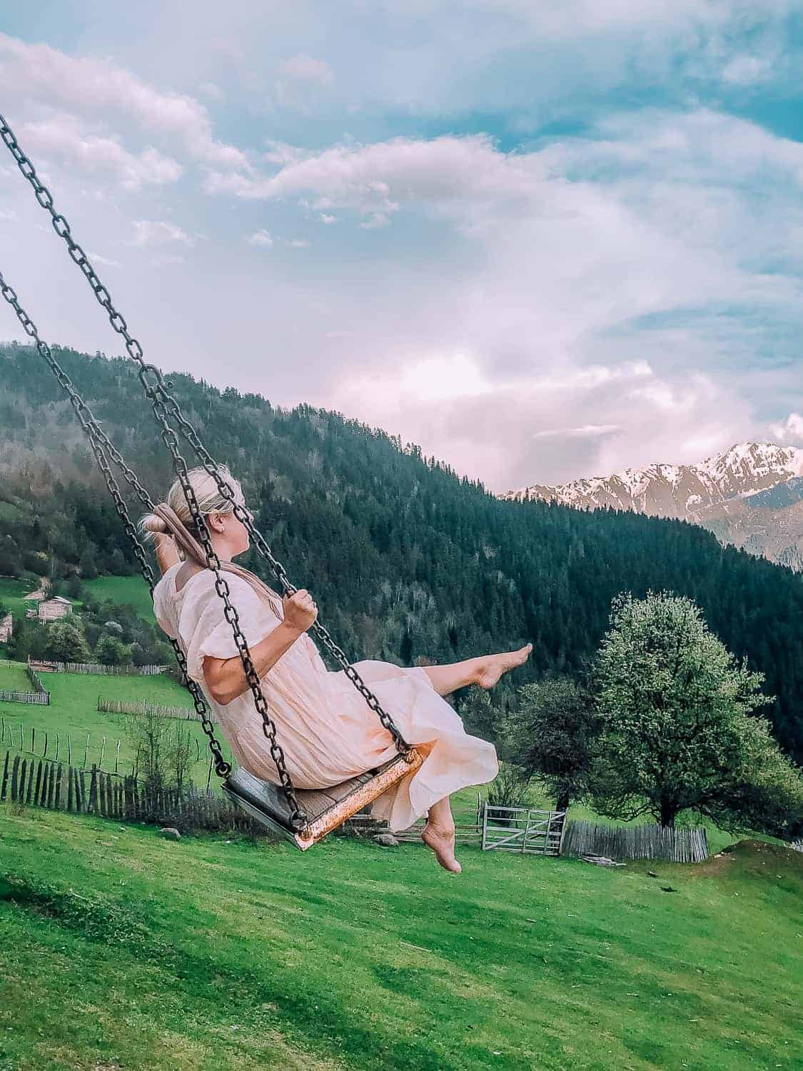 swinging in the mountains