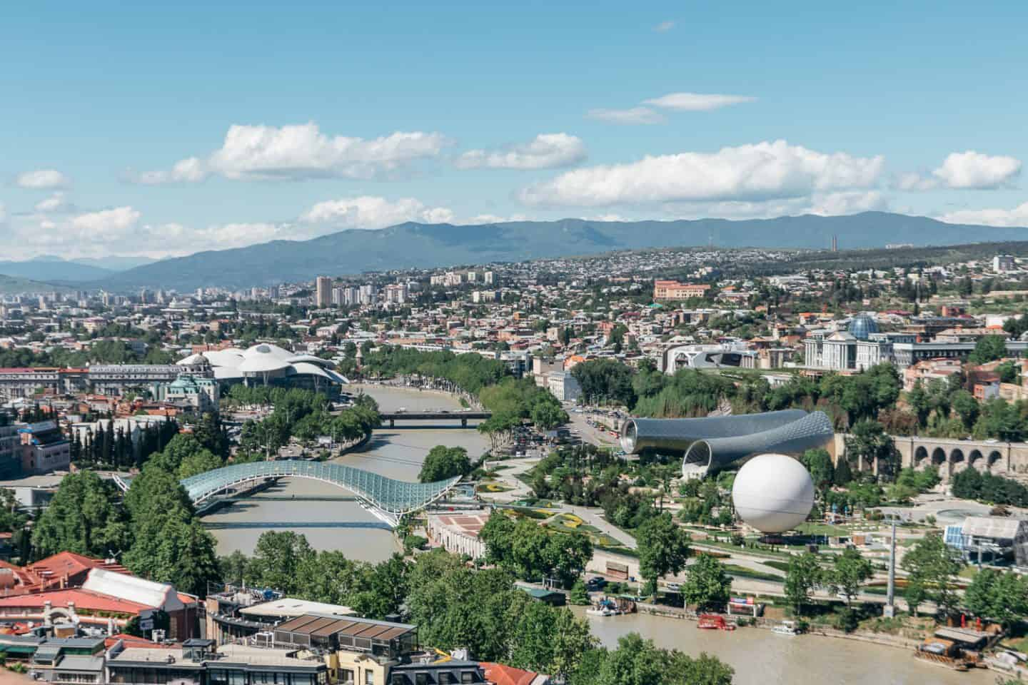 aerial views of tbilisi