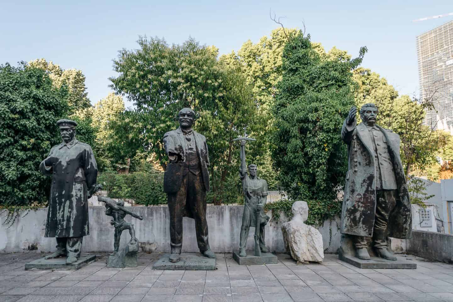 display of old communist statues